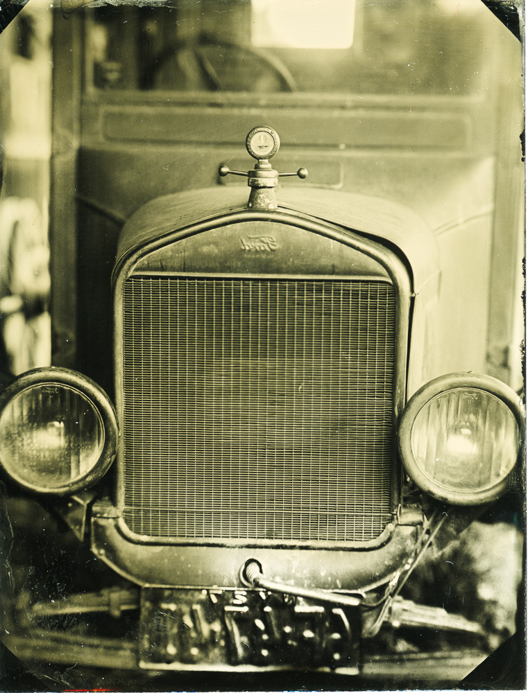 Wet plate tintype of a Ford Model T