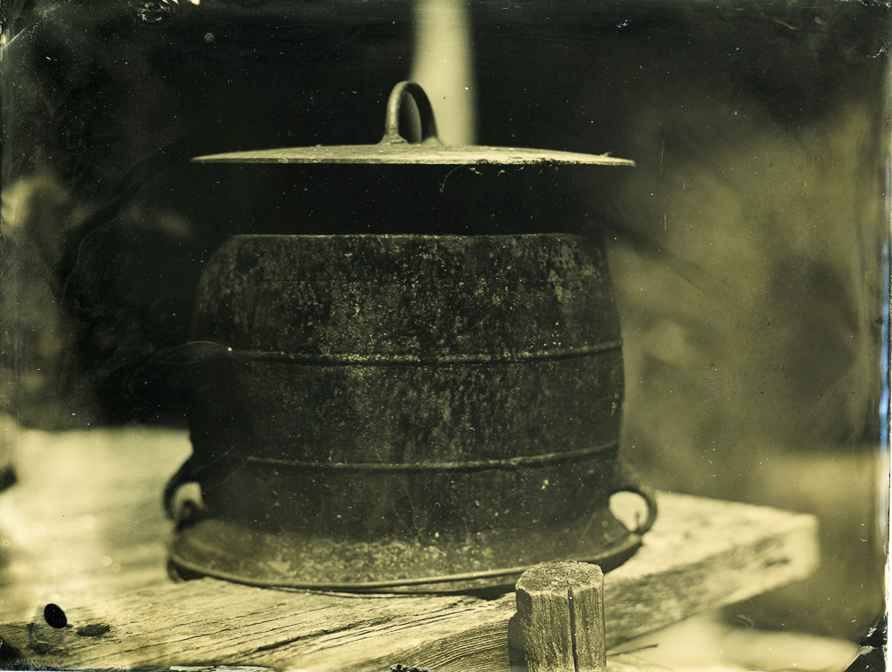 Weplate tintype of a cast iron pot